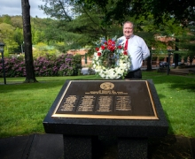 Appalachian State University's director of App Catering, Chuck Ford, places a wreath at Appalachian's Veterans Memorial to commemorate Memorial Day 2020. He was selected for the honor by Appalachian Chancellor Sheri Everts. Photo by Marie Freeman