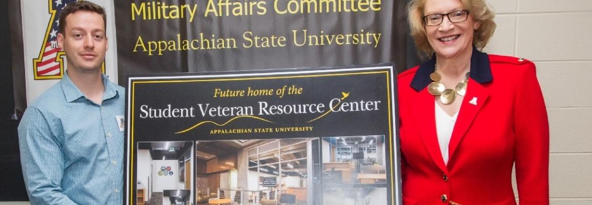 SVA President Dan Pegrim and Chancellor Sheri Everts announcing the new Veteran Resource Center.